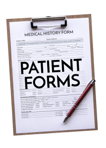 """Wooden clipboard with a medical history form for an eye doctor clipped to it. The middle of the form is partially covered by the words, """"Patient forms."""" There is also a red and silver metal pen on the bottom right of the clip board."""