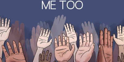"A picture with a blue background with hands of various sizes and races. Some hands are highly detailed and some are just shadows. The words, ""ME TOO,"" are written in white and all caps at the top of the picture."