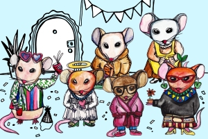 This photo features 6 hand drawn mice painted with watercolors. From left to right: This first mouse is a pink color and is wearing a festive shirt, it has pink heart sunglasses propped up on it's head and has a red cup in each hand. The next mouse is a light orange color and is wearing a long white dress and blue beaded necklace with a pink heart charm dangling from it. It also has a gold halo above its head. The next mouse is a pale peach color and is wearing and orange hoodie and holding a orange box that says my food. The next mouse is brown and wearing a long pink bathrobe with blue pants peeking out underneath, pink slippers, and black framed glasses. The next mouse is a light gray color and is wearing a long sleeved, floor length, orange dress with a yellow apron on top of it. The last mouse is a dark orange color wearing a multi colored and multi patterned quirky outfit. It also has green dangling earrings, a green bow on it's head, yellow high heels and red cat eye glasses. It is holding it's right hand out and in it is a small terracotta pot with a single red flower sprouting from it. Photo courtesy of https://www.manrepeller.com/2017/01/types-of-roommates.html