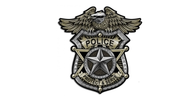 Silver and gold police badge with eagle at the top with the words police, protect and serve in all caps on a white background